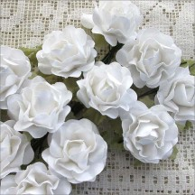 12 White Paper Open Rose Flowers