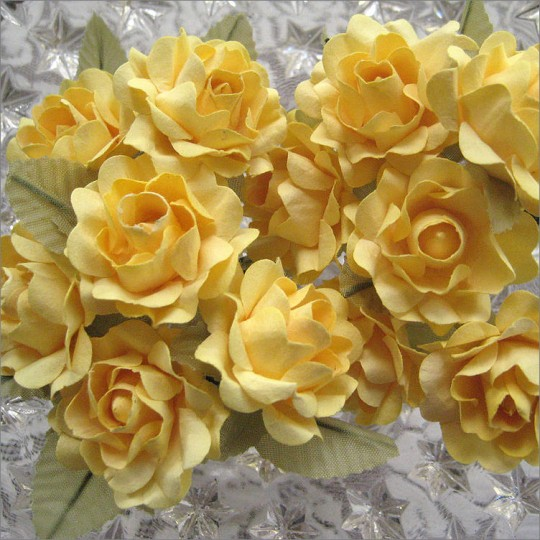 12 Yellow Paper Open Rose Flowers