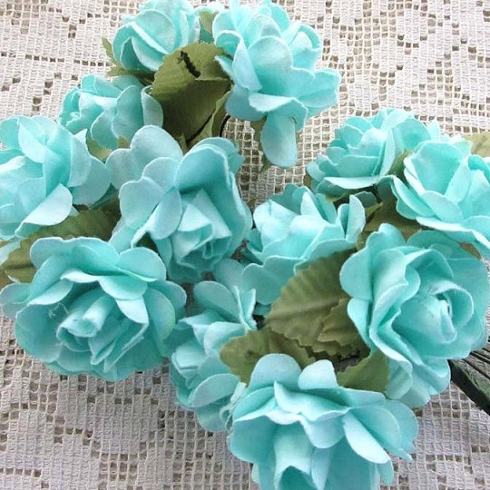 12 Aqua Paper Open Rose Flowers