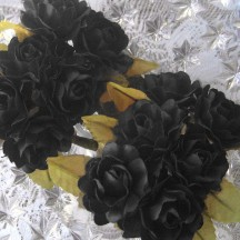12 Black Paper Open Rose Flowers