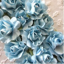 12 Blue Mix Open Rose Paper Flowers