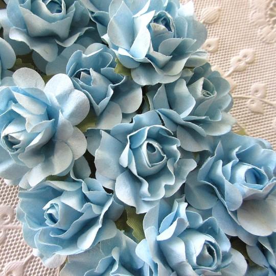 12 Blue Mix Open Rose Paper Flowers
