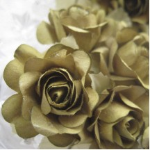 12 Olive Green Paper Open Rose Flowers