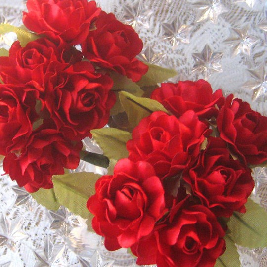 12 Red Paper Open Rose Flowers
