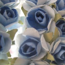 24 Blue Mix Petite Rose Paper Flowers