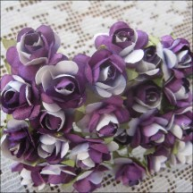24 Dark Violet Mix Petite Rose Paper Flowers
