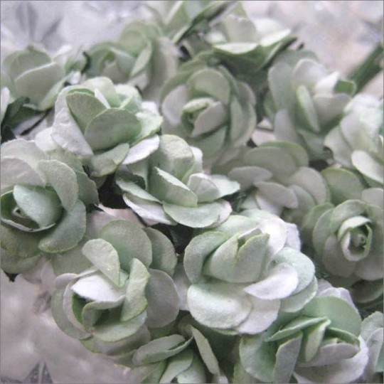 24 Pale Green Mix Petite Rose Paper Flowers