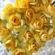 24 Medium Yellow Petite Rose Paper Flowers
