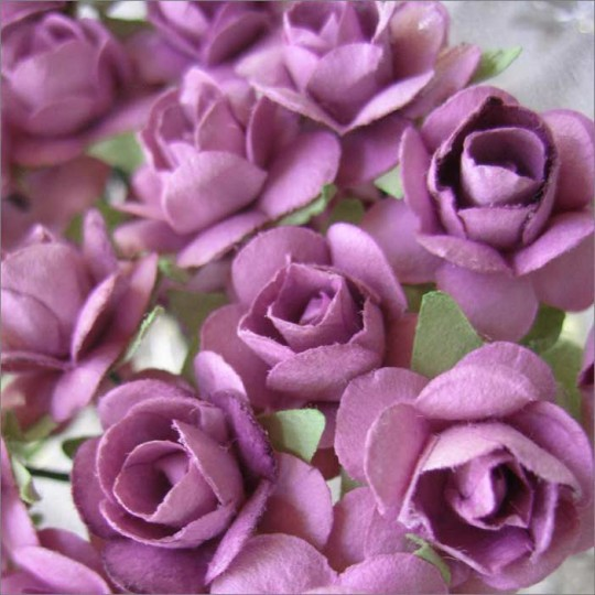 24 Pale Purple Petite Rose Paper Flowers