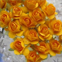 24 Pumpkin Orange Petite Rose Paper Flowers