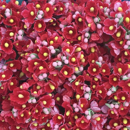 1 Bouquet of Paper Forget Me Nots in Red