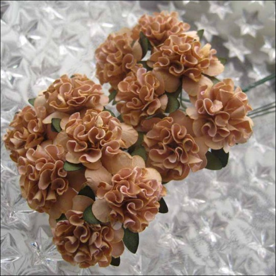 12 Cocoa Brown Ruffled Pom Pom Paper Flowers