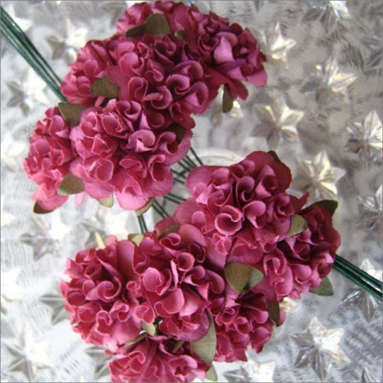 12 Dusty Rose Paper Ruffled Pom Poms
