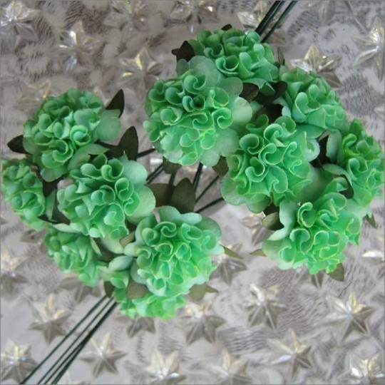 12 Green Ruffled Pom Pom Paper Flowers