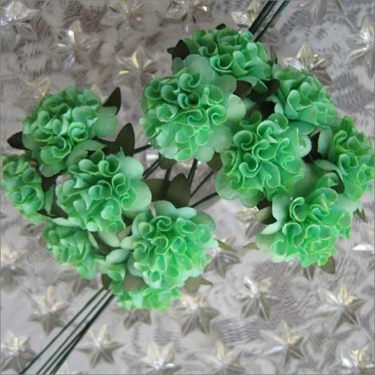 12 Green Ruffled Pom Pom Paper Flowers