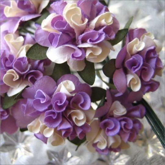 12 Lavender Mix Ruffled Pom Pom Paper Flowers