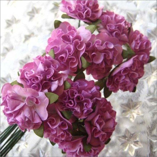12 Purple Ruffled Pom Pom Paper Flowers