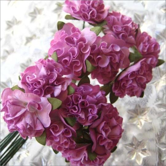 12 Purple Ruffled Pom Pom Paper Flowers