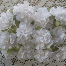 12 White Ruffled Pom Pom Paper Flowers