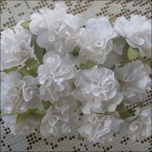 12 White Ruffled Pom Pom Paper Flowers
