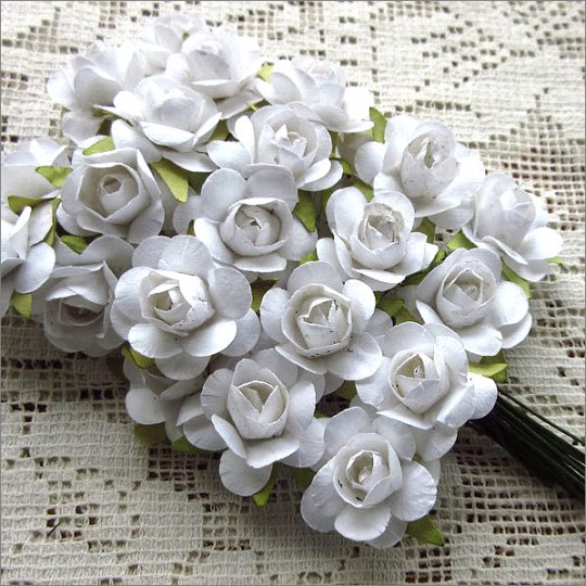 Paper flowers 24 white small rose paper flowers mightylinksfo