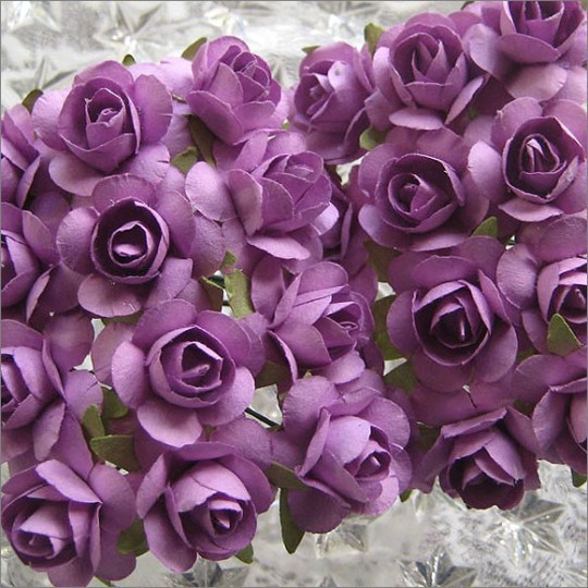 24 Lavender Small Rose Paper Flowers