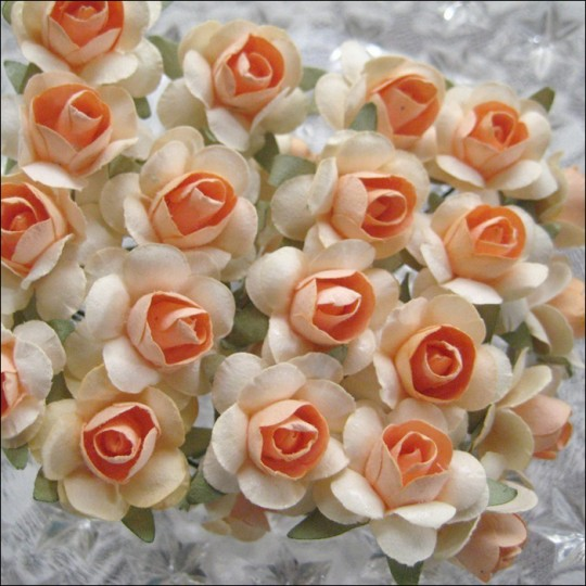 24 Peach Mix Small Rose Paper Flowers