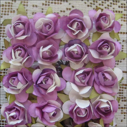 24 Purple Mix Small Rose Paper Flowers