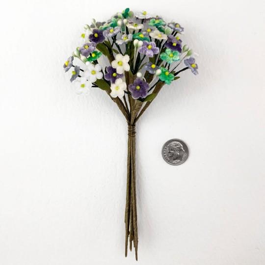 Bundle of Petite Mixed Velvet Forget me Nots ~ Czech Republic ~ WHITE, AQUA, LIGHT BLUE + LAVENDER