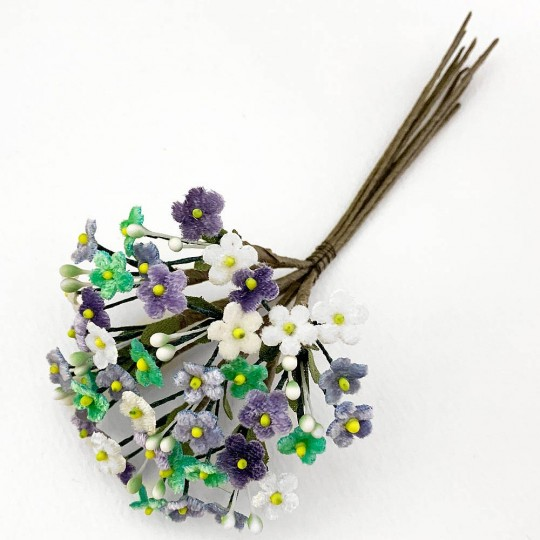 Bundle of Petite Mixed Velvet Forget me Nots ~ Czech Republic ~ WHITE, AQUA, LIGHT BLUE + LAVENDER