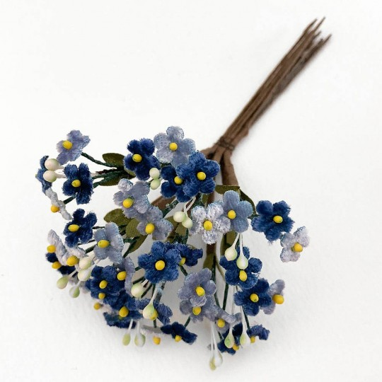 Mixed Bundle of Petite Velvet Forget me Nots ~ Czech Republic ~ BLUE + NAVY MIX
