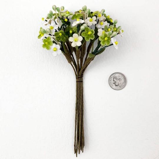 Mixed Bundle of Petite Velvet Forget me Nots ~ Czech Republic ~ GREEN + WHITE MIX