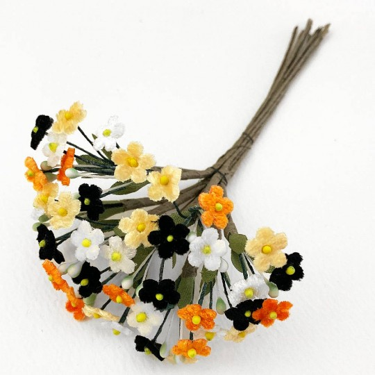 Bundle of Petite Mixed Velvet Forget me Nots ~ Czech Republic ~ WHITE, ORANGE, BLACK, APRICOT MIX