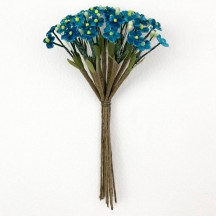 Bundle of Petite Velvet Forget me Nots ~ Czech Republic ~ PEACOCK BLUE