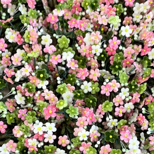 Bundle of Petite Mixed Velvet Forget me Nots ~ Czech Republic ~ PINK, GREEN, WHITE MIX