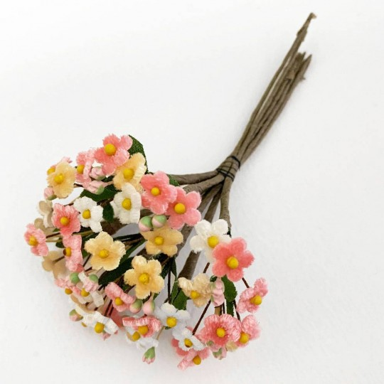 Mixed Bundle of Petite Velvet Forget me Nots ~ Czech Republic ~ PINK, WHITE and APRICOT MIX