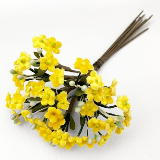 Bundle of Petite Velvet Forget me Nots ~ Czech Republic ~ YELLOW