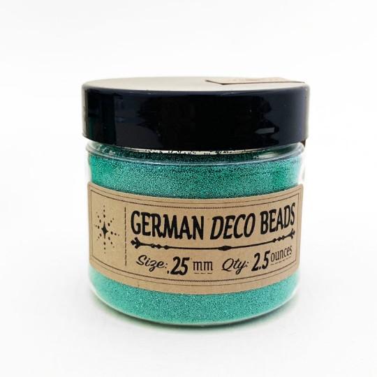 German Glass Deco Beads in METALLIC GREEN ~ .25mm size ~ 2.5 oz in Jar