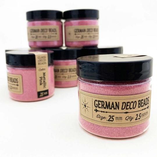 German Glass Deco Beads in METALLIC PINK ~ .25mm size ~ 2.5 oz in Jar