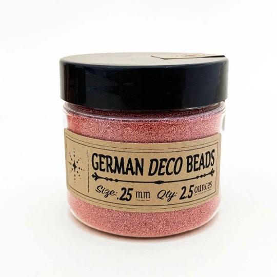 German Glass Deco Beads in METALLIC ROSE ~ .25mm size ~ 2.5 oz in Jar