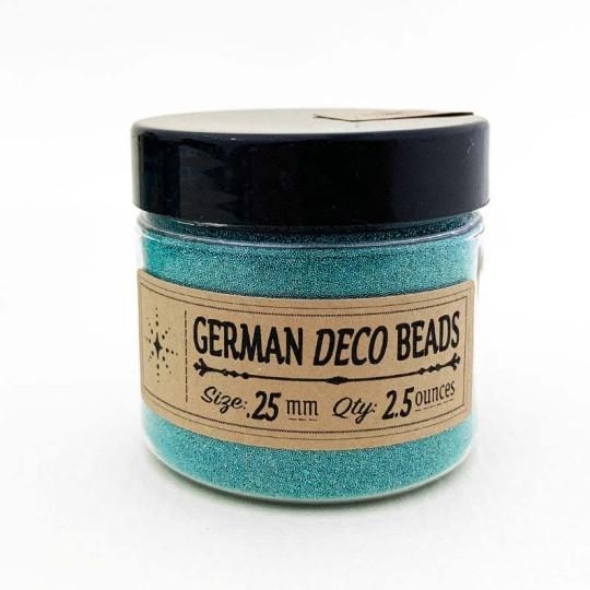 German Glass Deco Beads in METALLIC TEAL ~ .25mm size ~ 2.5 oz in Jar