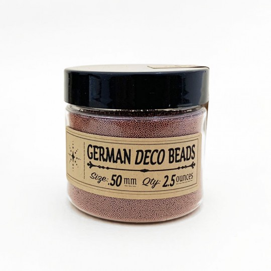German Glass Deco Beads in METALLIC BROWN ~ .5mm size ~ 2.5 oz in Jar