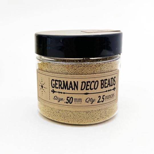 German Glass Deco Beads in METALLIC GOLD ~ .5mm size ~ 2.5 oz in Jar