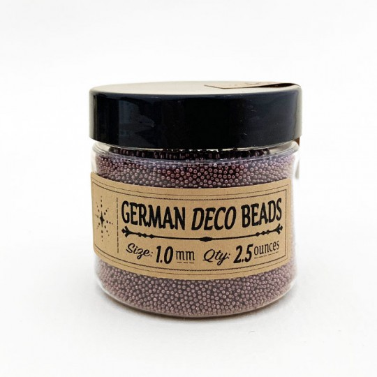 German Glass Deco Beads in METALLIC BRONZE ~ 1mm size ~ 2.5 oz in Jar