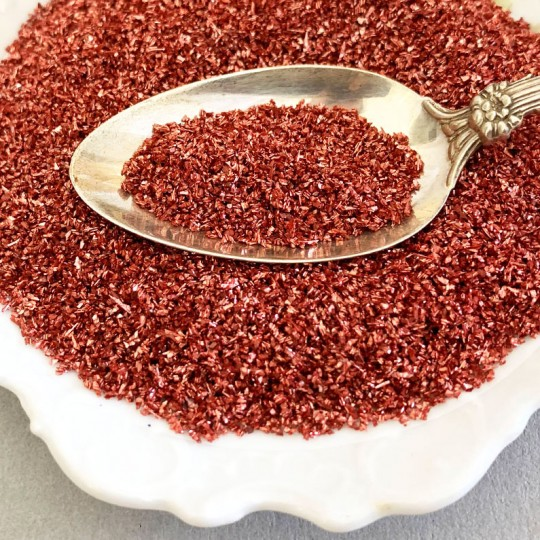 German Glass Glitter in Brick Red ~ Medium Grit ~ 2 oz in Jar
