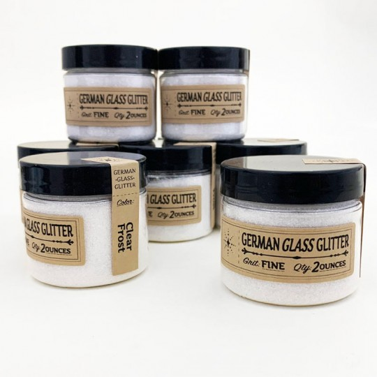 Clear German Glass Glitter ~ Fine Grit ~ 2 oz in Jar