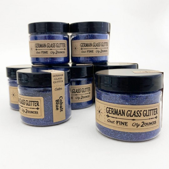 German Glass Glitter in Cobalt Blue ~ Fine Grit ~ 2 oz in Jar