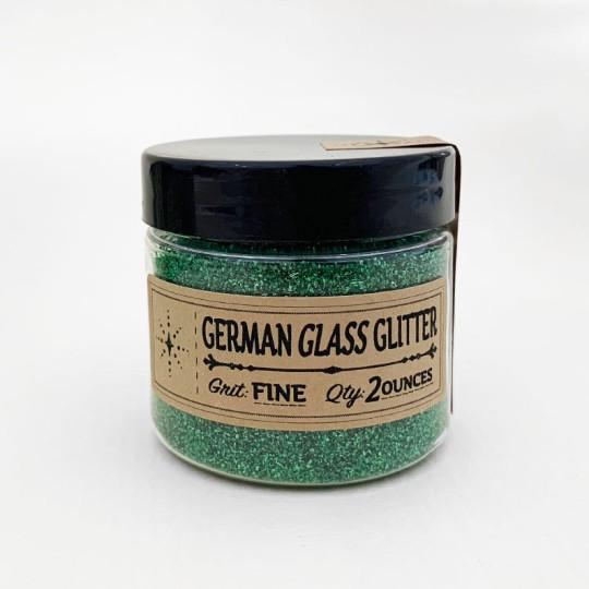 German Glass Glitter in Emerald Green ~ Fine Grit ~ 2 oz Jar