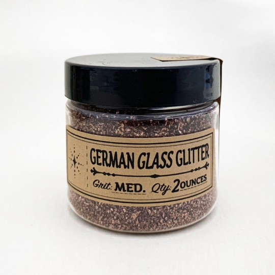 German Glass Glitter in Forest Brown ~ Medium Grit ~ 2 oz in Jar