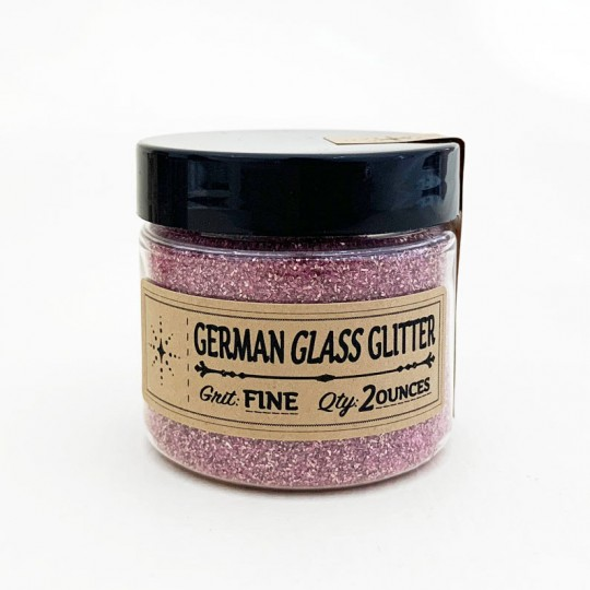 German Glass Glitter in Light Pink ~ Fine Grit ~ 2 oz in Jar